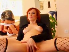 Redhead milf Erica gets her mouth and cunt pounded by two men