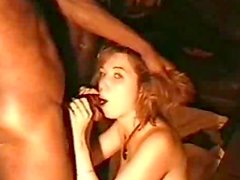 Stunning amateur chick is sucking two black dicks