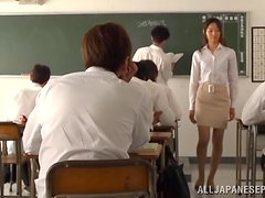 Slutty Japanese teacher masturbates in front of her students