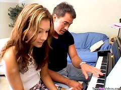 Private piano lesson ends up with a hot doggy style