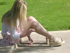 Adorable Blonde Shows Her Natural Tits Outdoors