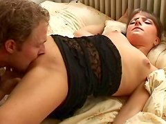 Sexy pigtailed slut is giving a deep blowjob