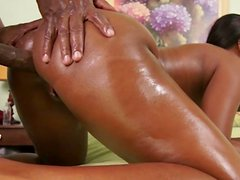 Sweet ebony is being pounded in her juicy anal