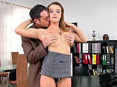 Classy secretary gets fucked at her office