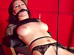 Busty brunette bitch teases us in sexy black lingerie