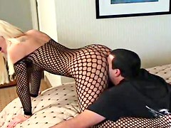 Horny blonde bitch gets screwed in sexy black lingerie