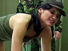 Army girl gets a good ass spanking from her superior