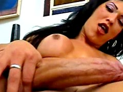 Big tits and big cock shemale solo