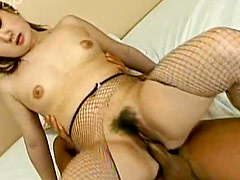 Her Asian pussy receives his big cock