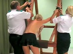 Tied up blonde gets a brutal back whipping