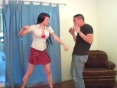 Furious ballbusting bitch goes wild