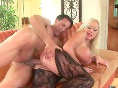 Horny blonde babe gets fucked in sexy black pantyhose