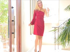 Emily takes off her red dress to show her perfect body