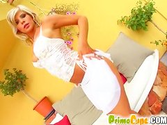 Curvy Blonde Masturbates With Whipped Cream All Over Her Luscious Body