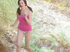 Striking Victoria Inserts A Hose In Her Pussy Outdoors