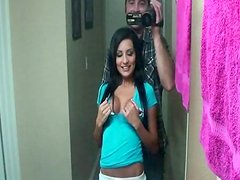 Long-haired babe LexiD is sucking a big pole