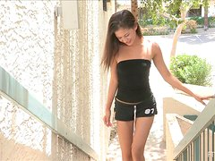 Naughty Flasher Walks Around Naked in Publc