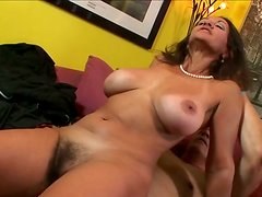 Old slut with droopy tits gets drilled her clit hard.