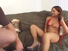 Petite Latina is going to keep her legs wide open
