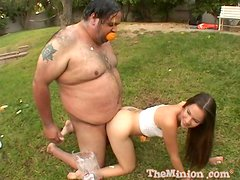 Sweet Brunette Goes Hardcore Outdoors With A Fat Guy