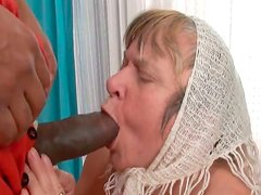 Old Russian granny got her mouth invaded hard by BBC