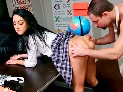 Blue eyed  filthy chick gets doggy pose fucked by her kinky teacher
