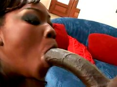 Zealous red head ebony whore gets her mouth hardcore loped by BBC