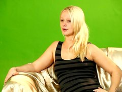 Slim blond babe Lady Pinkdot is flashing her shapes out