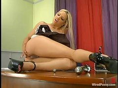 Horny Maid Sticks Her Mistress' Dildo For Some Lonely Pleasure, Until The Mistress Arrives!