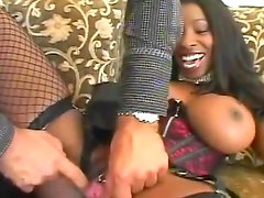 A pierced ebony pussy gets some fast penetration