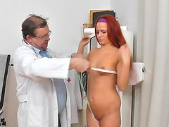 Pussy inspection at the doctor for teen redhead