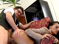 Glamorous office slut fucks on the table