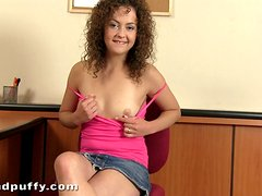 Sexy curly haired doll Richie is touching herself
