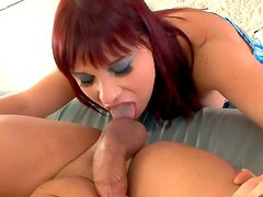 Big breasted russian redhead Olga Cabaeva giving a deepthroat