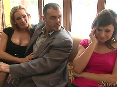 Superb Tanya Tate and Abbie Cat get fucked in a threesome