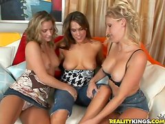 Three stunning milfs are getting lesbian