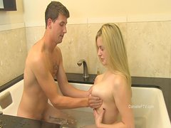 Sweet Danielle Goes Hardcore With A Guy In A Hot Bath