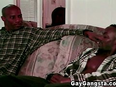 Two muscled Blacks suck dicks and have anal sex