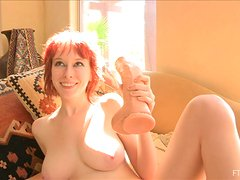 XXL sized dildo is what she takes it deep