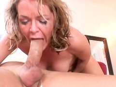 Filthy blonde MILF Kelly Leigh giving a deepthroat