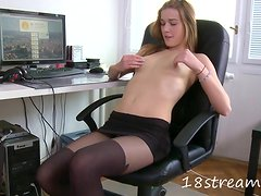 Pretty Alka toys her incredible pussy at her workplace