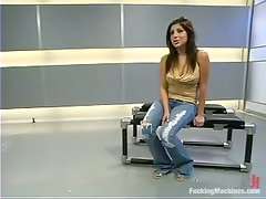 Sativa Rose gets her juicy vag pounded by a fucking machine