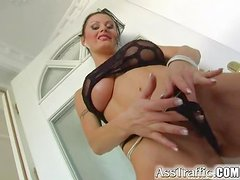 Sizzling Karma takes huge dicks in her tight ass and pussy