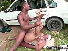 Black Granny Fucks Outside