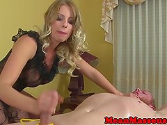 Bigtit cbt femdom rubbing cock with her heels