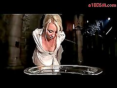 Blonde Girl In Costume Spanked With Stick Tortured With Shocker By Master In The Dungeon