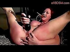 Redhead Girl Tortured With Stick By Master While Masturbating With Vibrator In The Dungeon