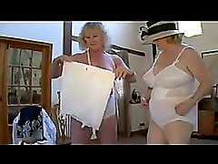 Hot grannies in lingerie fingering and kissing