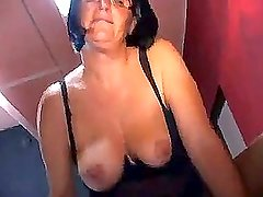 Mature in black lingerie gangbanged