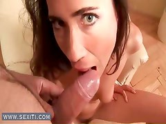 Horny brunette bitch suck penis